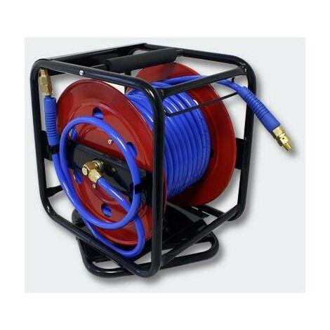 Dévidoir - Enrouleur de tuyau pneumatique portable en acier 30 m 12 bar Rotation à 360° - Or