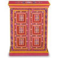 Buffet bahut armoire console meuble de rangement bois massif de manguier peinture rose à la main - Bois