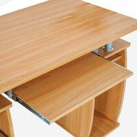 Bureau informatique meuble 115 x 55 x 87 cm marron hêtre - Marron