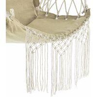 Hamac fauteuil suspendu chaise à franges jusqu à 150 kg avec accoudoirs en bois 120 cm beige - Beige