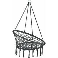 Hamac siège rond chaise suspendue diamètre d'assise 60 cm noir - Noir