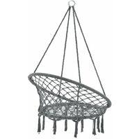 Hamac siège rond chaise suspendue diamètre d'assise 60 cm gris foncé - Gris