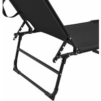 Lot de 2 transats pliable 190 cm avec toiture pare-soleil de relax acier noir - Noir
