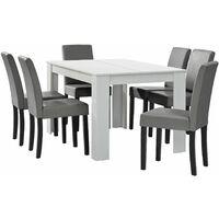Table salon salle à manger avec 6 chaises rembourré 140 cm blanc gris - Blanc