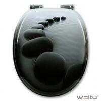 Abattant WC MDF pierres noires - Noir