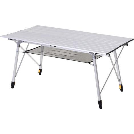 Outsunny® Picknick Klapptisch Campingtisch Falttisch Höhenverstellbar Tragetasche Alu - silber
