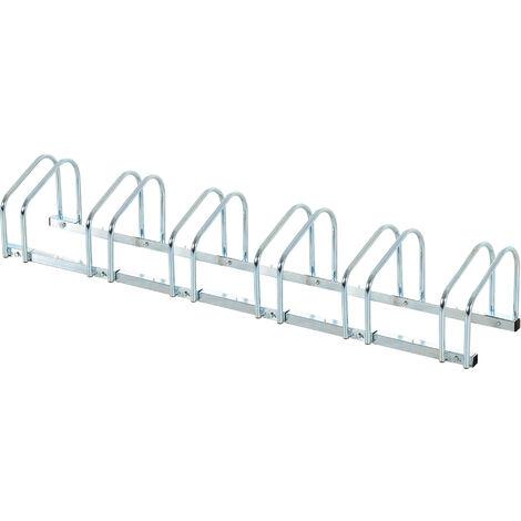 HOMCOM® 6er Fahrradständer Radständer Aufstellständer Fahrrad Ständer Stahl verzinkt - silber