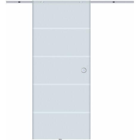 HOMCOM® Glasschiebetür mit Muschelngriffen | Teilsatiniert | 102,5 x 205 cm - transparent