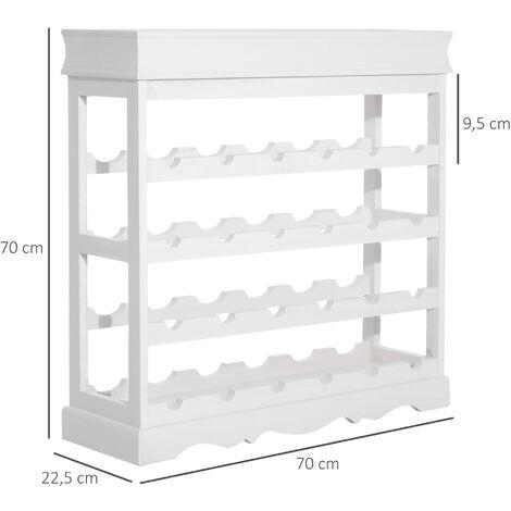 HOMCOM® Weinregal Weinständer für 24 Flaschen Holz weiß - weiß