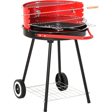 Outsunny® Holzkohlegrill auf Rollen Rundgrill Standgrill Holzkohle Rost BBQ Metall Rot - rot/schwarz