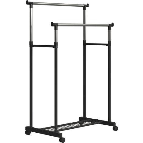 HOMCOM® Kleiderständer mit 2 Stangen Garderobenständer rollbar höhenverstellbar - schwarz/silber