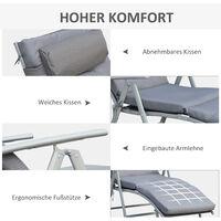 Outsunny® Sonnenliege Strandliege Gartenliege 7-stufig Verstellbar Klappbar Metall Grau