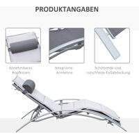 Outsunny® Gartenliege Alu Sonnenliege Gartenstuhl Relaxsessel Liegestuhl verstellbar - grau/weiß