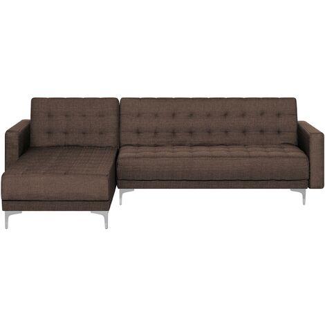 Sofá cama esquinero 4 plazas tapizado marrón oscuro derecho ABERDEEN