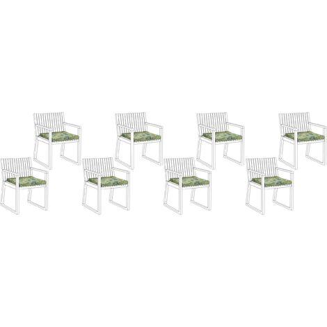Conjunto de 8 cojines para sillas de jardín verde SASSARI