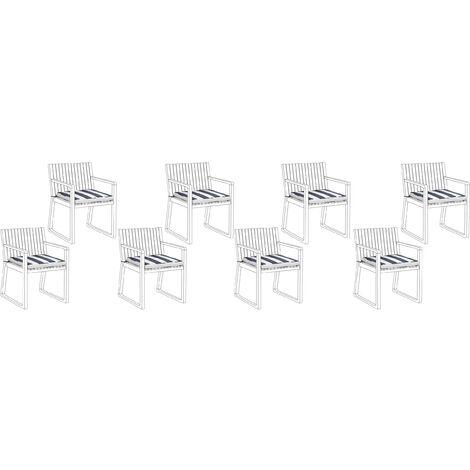Conjunto de 8 cojines para sillas de jardín azul/blanco SASSARI