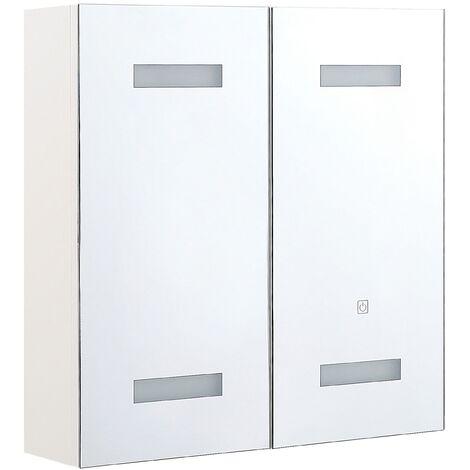 Armario de baño con LED blanco/plateado 60 x 60 cm TALAGAPA