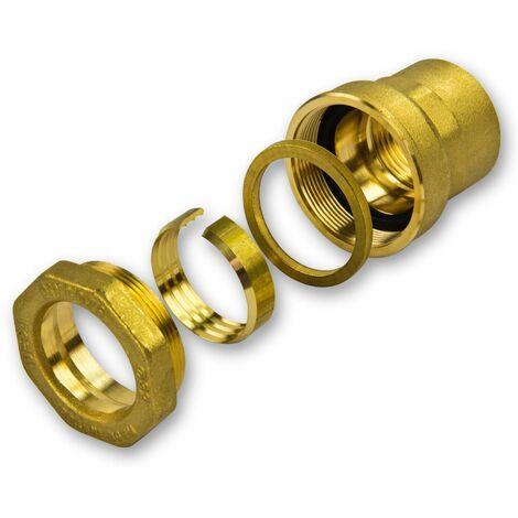 """Caleffi Messing PE Rohr Verschraubung 32mm x 1/"""" IG Klemmverbinder Klemmfitting"""