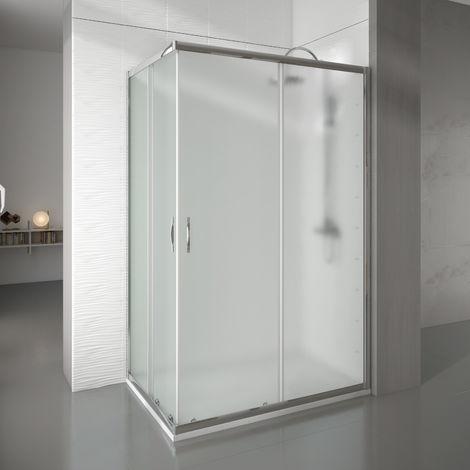 Mampara de ducha rectangular 2 fijos+2 puertas 88-90x128-130 newcarglass