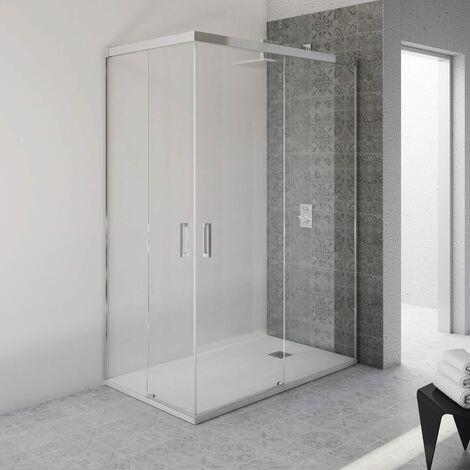 Mampara de Ducha Rectangular Corredera - 2 Fijos + 2 Puertas - Sin Perfil Inferior - Cristal Templado 6mm - Transparente - Perfiles Aluminio Cromo (70/75x80 cm)