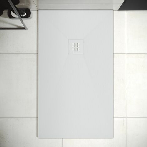 Plato de Ducha de Resina Mineral - Textura Pizarra ,Antideslizante y Antibacteriano - Acabado Mate - Incluye Sifón y Rejilla (80x120 cm, Blanco)