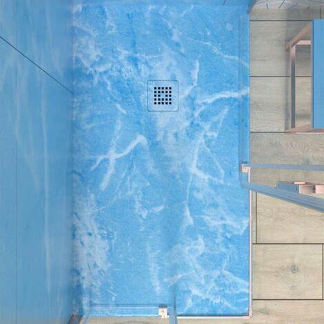 Plato de Ducha de Resina Mineral - Efecto Mármol Mate - Antideslizante y Antibacteriano - Incluye Sifón y Rejilla (70x90 cm, Emperador Azul)