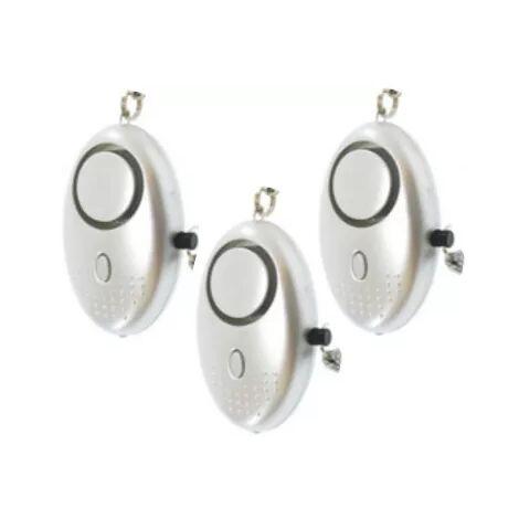 Kit 3 alarmes personnelles argentées avec sirène 140 dB et lampe de poche intégrées