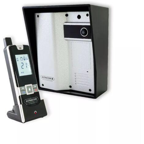 Interphone 100% sans-fil autonome sur piles 600 mètres longue distance - UltraCOM2 Argent 600-SOLO visière noire combiné