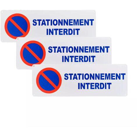 Pack 3 larges panneaux extérieurs 'STATIONNEMENT INTERDIT' - PVC résistant (42 x 14 cm)