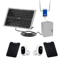 Vidéosurveillance 100% autonome solaire sans-fil UltraCAM 4G sur smartphone - 2 caméras - Notifie / enregistre / FHD