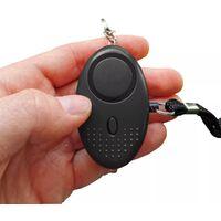 Alarme personnelle compacte anti-agression vol chien sos - sirène 140 dB / lampe de poche - Noire