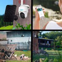 Caméra 4G rotative autonome 100% sans fil version FR + panneau solaire noir / IP64 / 1080P / Détecte enregistre notifie