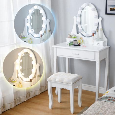 WYCTIN®Coiffeuse avec Lumière LED Miroir Ovale Table de Maquillage Contemporain avec Tabouret 75*40*139cm