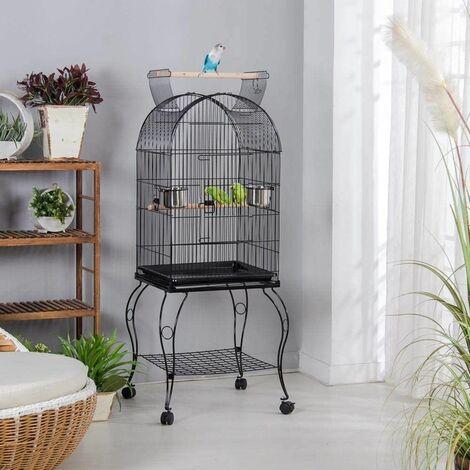 Cage Oiseaux avec Toit Ouvrable Volière à Roulettes pour Canaries Perroquet Perruches Cockatiels, 59 x 59 x 150 cm