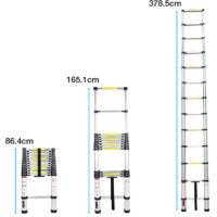 Échelle Télescopique 3.8M Portable et Pliante Echelle Escamotable Polyvalent en Aluminium 12 Echelons Charge max 150 kg