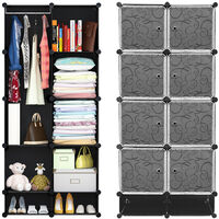 WYCTIN®Armoire Penderie étagère de rangement modulables plastiques noir imprimé cabinet avec Armoire avec Chaussures