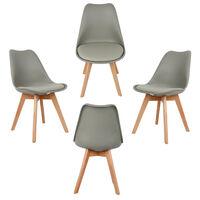 TOP !! Lot de 4 chaises scandinaves Gris clair avec coussin