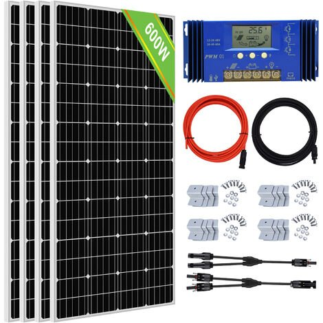 600W Solar Kit 4pcs 150W Solar Panel & 60A Controller for Boat Garden Camper van