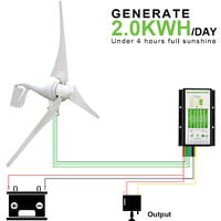 400W 12V/24V DC Wind Generator & 20A Hybrid Controller Permanent Magnet for Home