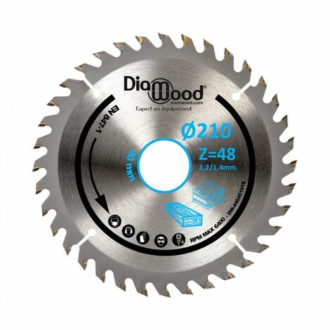 Lame de scie circulaire HM universelle D. 210 x Al. 30 x ép. 2,2/1,4 mm x Z48 TP Nég pour Alu/bois - Diamwood