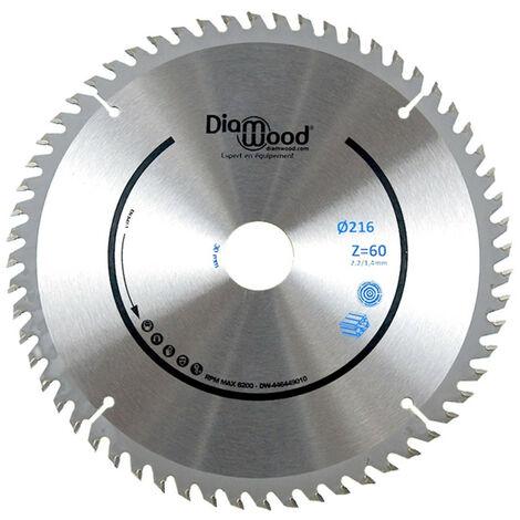 Lame de scie circulaire HM finition D. 216 x Al. 30 x ép. 2,2/1,4 mm x Z60 TP Nég pour Alu/bois - Diamwood