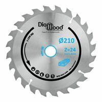 Lame de scie circulaire HM débit D. 210 x Al. 30 x ép. 2,2/1,4 mm x Z24 Alt Nég pour bois - Diamwood