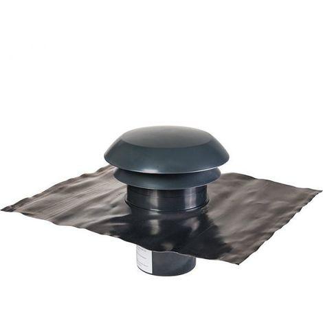Chapeau de toiture plastique finition ardoise - Ø 125 mm - CARA - Anjos