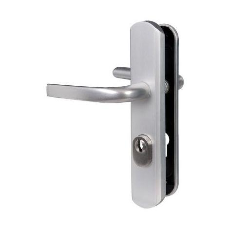 Poignée de porte sur plaque argent - Clé I - Secumax up - Vachette