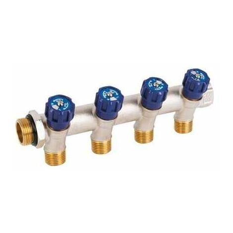 Collecteur 4 sorties - MF 3/4' - Avec vanne bleu M 1/2' - PB tub