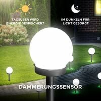 8 lampes solaires pour jardin I Ø 10 cm I capteur crépusculaire I 6.500 K blanc froid I allumage/extinction automatique par détecteur de crépuscule I boule de LED IP44 pour l'extérieur