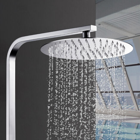 Colonne de douche sans robinet avec douchette et pommeau de douche - Hauteur réglable - Système de douche et de douche - Chromé