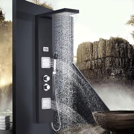 BONADE Thermostat Fonctionnel Panneau de Douche en Acier Inoxydable Noir Avec Montage Mural en Surface à Température Variable (Panneau de Douche de Thermostat)