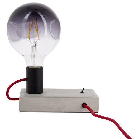 XANLITE - Lampe à poser FOCO (style industrielle) en béton & fil rouge, culot E27 - XDLAPFOCOCR