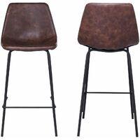 Lot de 2 tabourets de bar vintage LUCIEN marron - Hauteur d'assise 65cm - Marron
